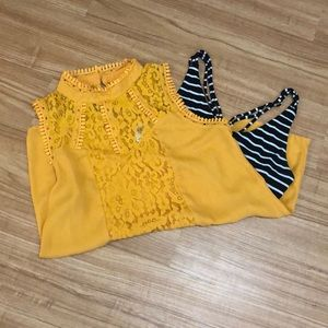Mustard colored Lacy Self Esteem Tank Top